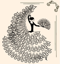Image of flamenco with fan vector