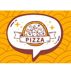 Speech bubble with icon of pizza on yello vector