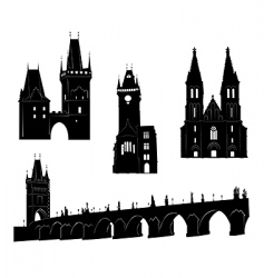 prague silhouette vector image