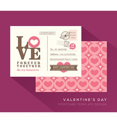 Cute valentine love postcard card design template vector