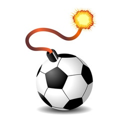 Soccer ball bomb isolated over white background vector