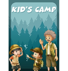 Kid going camping in the forest vector
