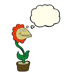 Cartoon monster plant with thought bubble vector