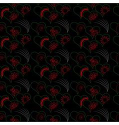 Seamless green hearts red patterns vector