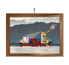 Ship in the storm vector image