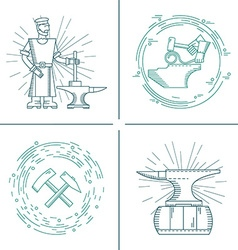 Icons blacksmith vector