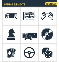 Icons set premium quality of classic game objects vector