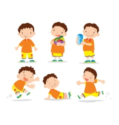 Cute boy cartoon many action vector