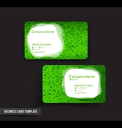 Business card template set 53 green grass and vector
