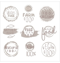 Organic farm food grey logo set vector