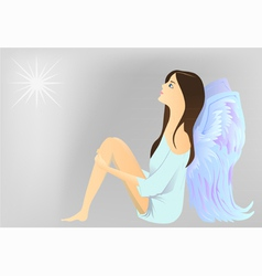 Angel watch the star vector