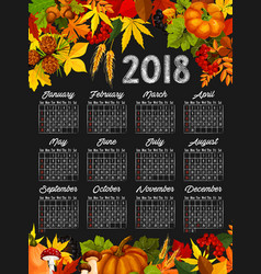 Autumn harvest calendar chalkboard template design vector