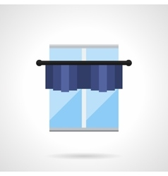 Blue window with pelmet flat color icon vector