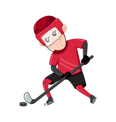 Boy ice hockey player in sport uniform vector