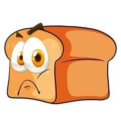 Bread with face on white vector image vector image