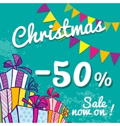 Bright Christmas sale banner with boxes of gifts vector image vector image