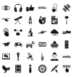 Broadcasting technology icons set simple style vector