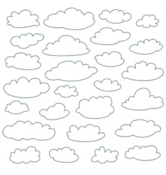 Cloud outlines set of cute simple shapes vector