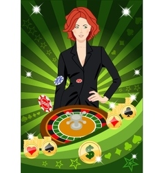 Confident lucky girl spins roulette vector image vector image
