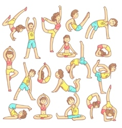 Couple Doing Yoga Poses vector image