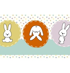 cute rabbits greeting card vector image vector image