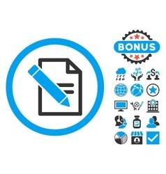 Edit Records Flat Icon with Bonus vector image