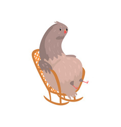 fat dove sitting in rocking chair vector image