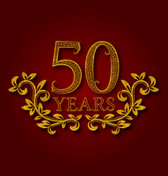 Fifty years anniversary celebration patterned vector