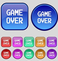 Game over concept icon sign a set of twelve vector