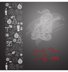 Hand drawn Santa Claus gifts and handwritten vector image vector image