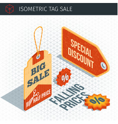 Isometric sale labels vector