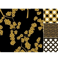 Japanese seamless pattern set with traditional vector image