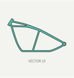 Line flat color motorcycle icon bike vector