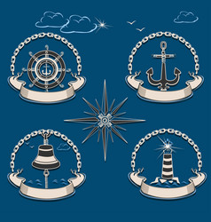 Marine emblem set vector