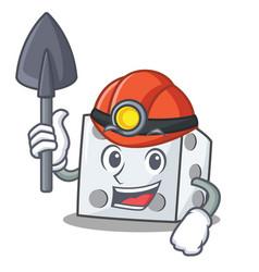 Miner dice character cartoon style vector