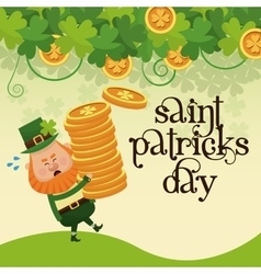 saint patricks day leprechaun carrying pile coins vector image
