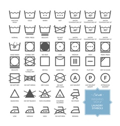 Set with thin line washing icons and laundry symbo vector
