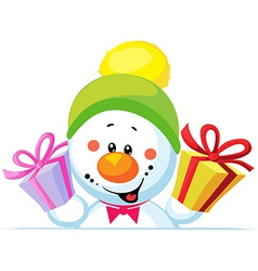 snowman holding gift peep out through the blank vector image