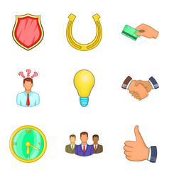 successful deal icons set cartoon style vector image vector image