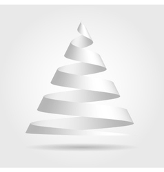 White paper ribbon folded in a shape of Christmas vector image vector image