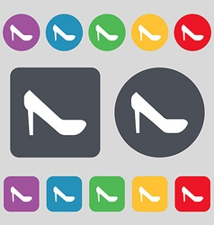 woman shoes icon sign A set of 12 colored buttons vector image