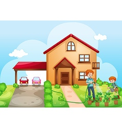 Father and son watering the plants at home vector