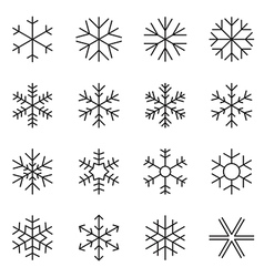 Thin line simple snowflake icons vector