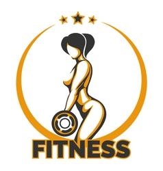 Training girl fitness emblem vector