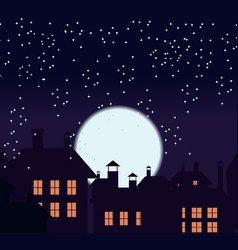 Silhouette of the city and night sky with stars vector
