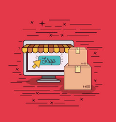 Red background with online sell and shipping vector