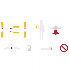 Civil aviation icons vector