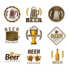 Beer golden emblems vector image