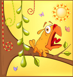 Little yellow birdie cartoon vector
