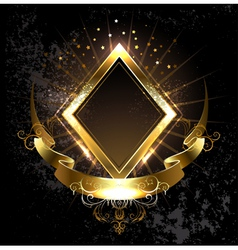 Gold Banner Rhombus vector image